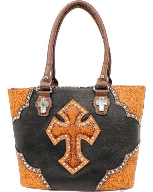 Blazin Roxx Tooled Cross Tote Bag, Black, hi-res