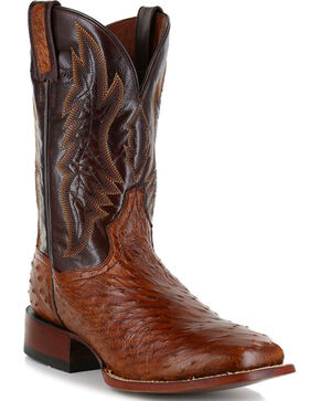 Dan Post Men's Ostrich Cognac Square Toe Exotic Boots   , Cognac, hi-res