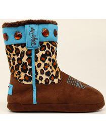 Blazin Roxx Leopard Print Cowgirl Slipper Booties, , hi-res