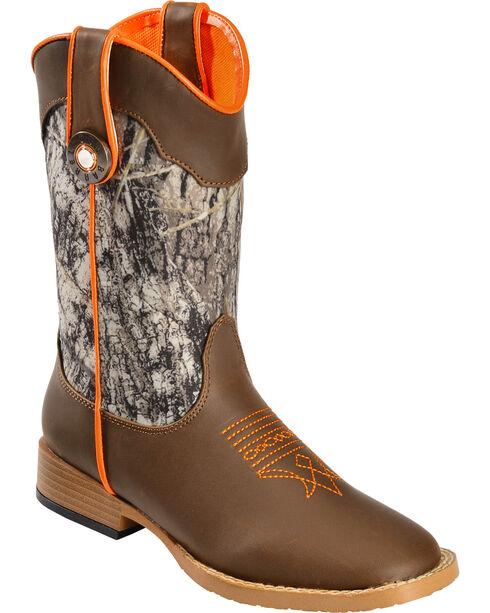 Double Barrel Boys' Buckshot Side Zipper Cowboy Boots - Square Toe, Camouflage, hi-res