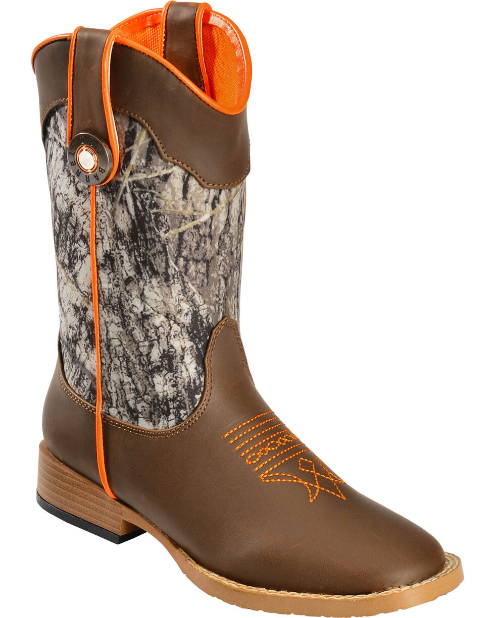 Double Barrel Boys' Buckshot Side Zipper Cowboy Boots - Square Toe, Camouflage, hi-res