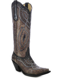 Corral Women's Studded Snip Toe Western Boots, Brown, hi-res