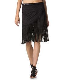 Miss Me Wrap-Around Black Fringe Skirt , , hi-res