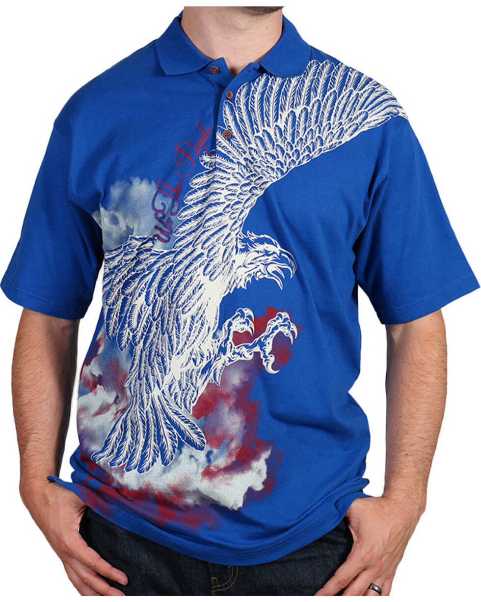 Cody James® Men's Screaming Eagle Polo, Navy, hi-res