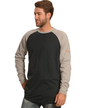 Ariat Men's FR Baseball Tee, Grey, hi-res