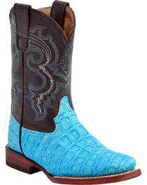 Ferrini Girls' Croc Print Western Boots - Square Toe, , hi-res
