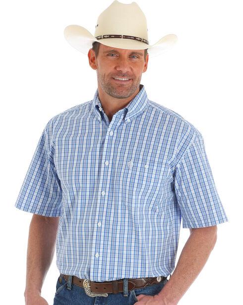 Wrangler George Strait Men's Blue Short Sleeve Plaid Shirt - Tall , Blue, hi-res
