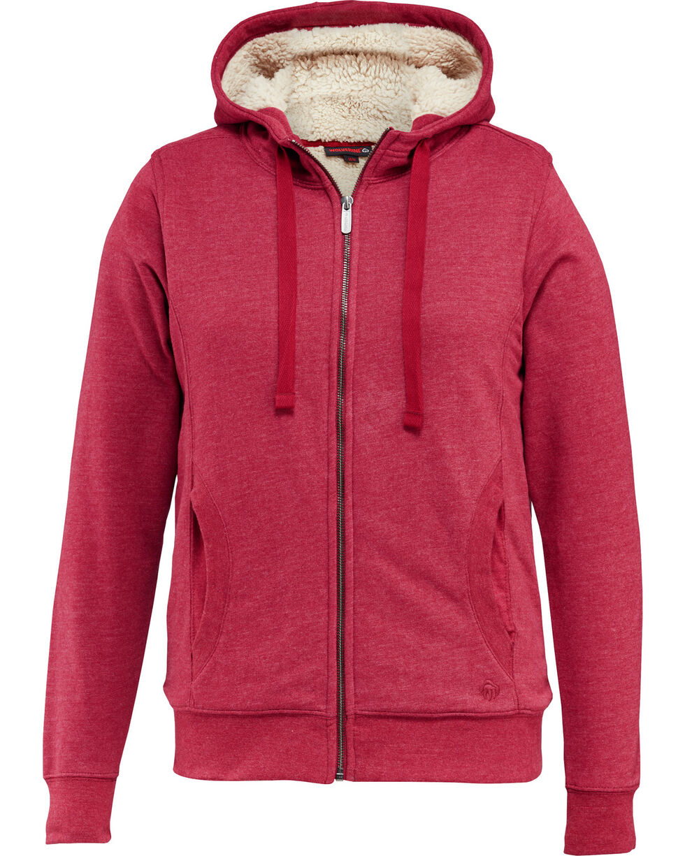 Wolverine Women's Sherpa Lined Hooded Sweatshirt, Red, hi-res