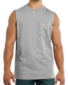 Carhartt Men's Workwear Sleeveless T-Shirt, Hthr Grey, hi-res