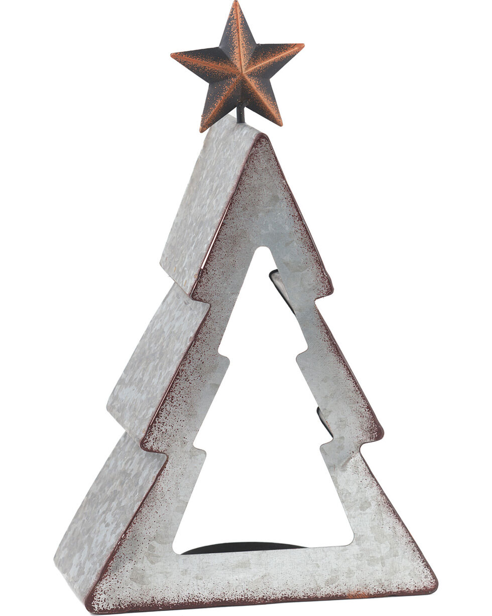 BB Ranch Galvanized Metal Tree Candle Holder - Small, No Color, hi-res