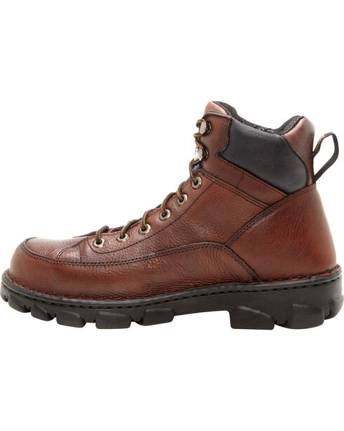 "Georgia Men's Wide Load Safety Toe Heritage 6"" Work Boots, Dark Brown, hi-res"