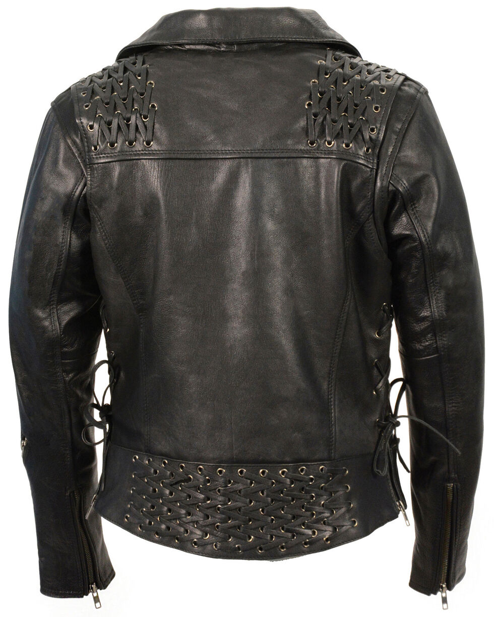 Milwaukee Leather Women's Lightweight Lace To Lace Motorcycle Jacket - 4X, Black, hi-res