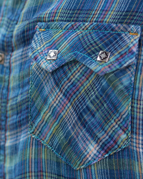 Ryan Michael Men's Fiesta Double Face Plaid Shirt , Indigo, hi-res