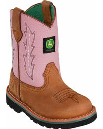 John Deere Youth Girls' Johnny Popper Pink Western Boots - Round Toe, , hi-res