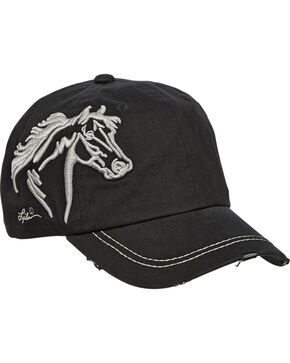 Western Express Women's Black Horsehead Vintage Cap , Black, hi-res