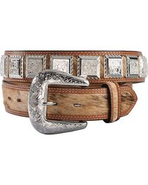 3D Fancy Concho Hair-on-Hide Leather Belt, , hi-res