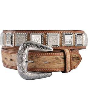 3D Fancy Concho Hair-on-Hide Leather Belt, Tan, hi-res