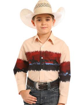 Panhandle Boys' Checotah Border Print Snap Shirt, Tan, hi-res