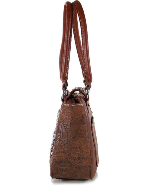 Montana West Women's Rhinestone Studded Flap Handbag, Brown, hi-res