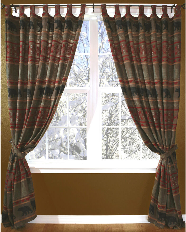 Carstens Bear Country Curtains Red Hi Res