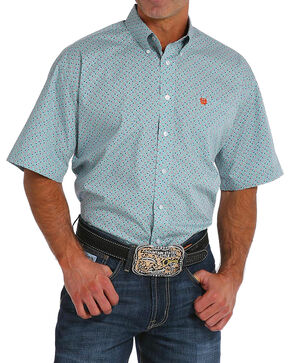 Cinch Men's Paisley Print Short Sleeve Button Down Shirt, Light Blue, hi-res