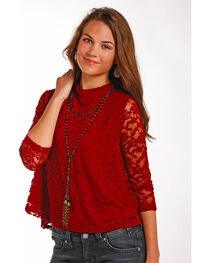 Panhandle Women's Stretch Lace Top, , hi-res