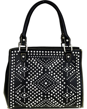 Montana West Women's Bling Bling Crystal Studded Satchel , Black, hi-res