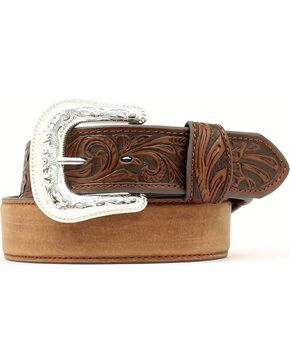 Tooled Tab Leather Belt, Med Brown, hi-res