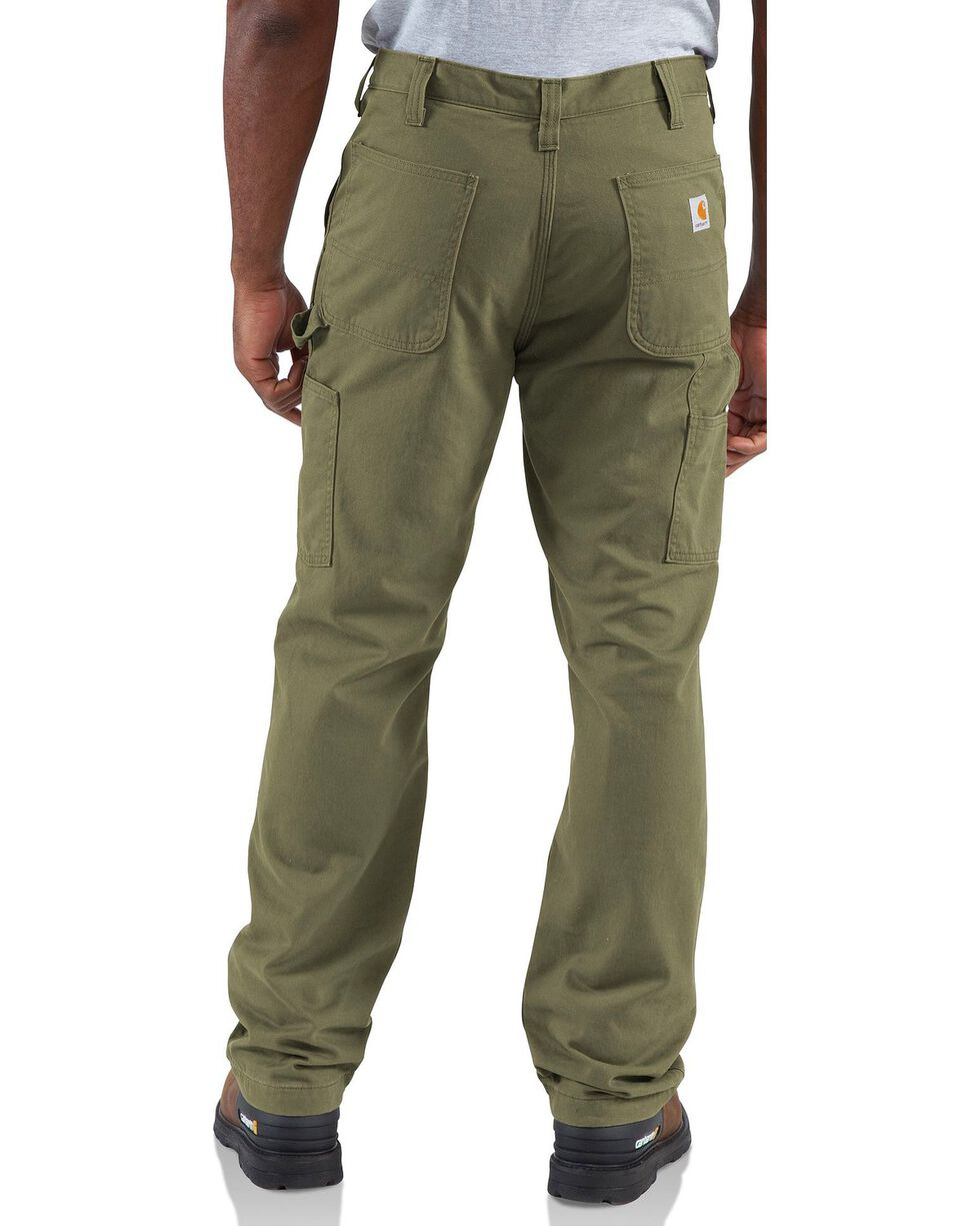 Carhartt Men's Flannel Lined Twill Dungaree Pants, Army, hi-res
