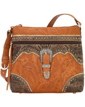 American West Women's Saddle Ridge Zip Top Shoulder Bag , Tan, hi-res