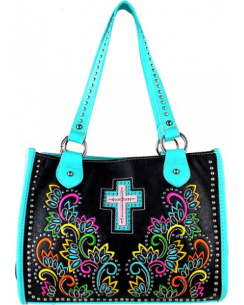 Montana West Cut Out Patten with Embroidery Spiritual Collection Handbag, Turquoise, hi-res