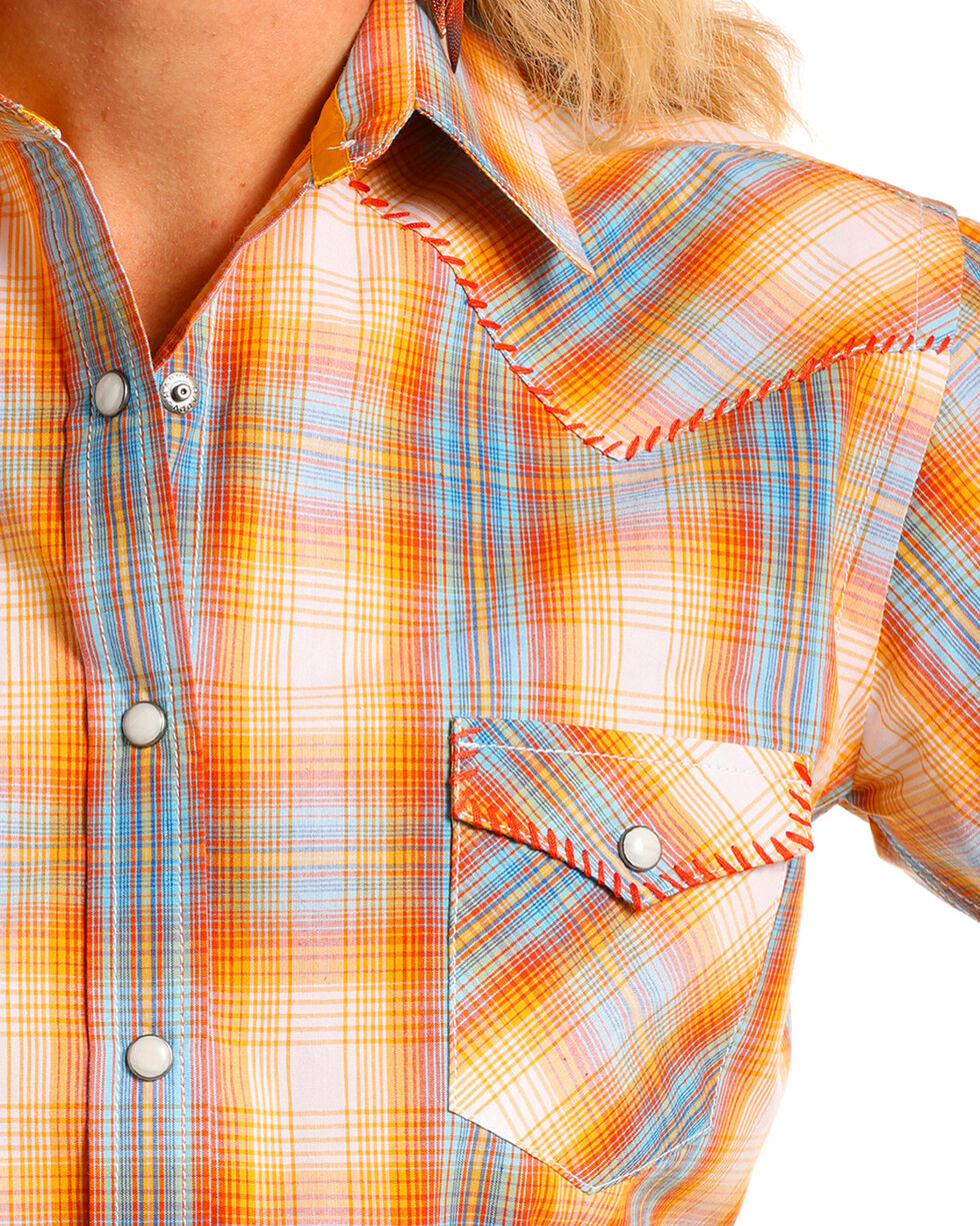 Rough Stock by Panhandle Women's Beehive Vintage Ombre Plaid Short Sleeve Snap Shirt, Orange, hi-res