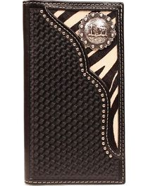 Nocona Zebra Print Hair-on Hide Inlay w/ Cowboy Prayer Concho Rodeo Wallet, , hi-res
