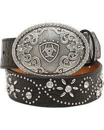 Ariat Girls Swirl Studded Croc Print Belt, , hi-res