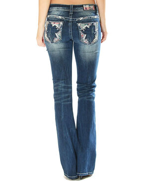 Grace in LA Women's Zig Zag Pocket Jeans - Boot Cut, Indigo, hi-res