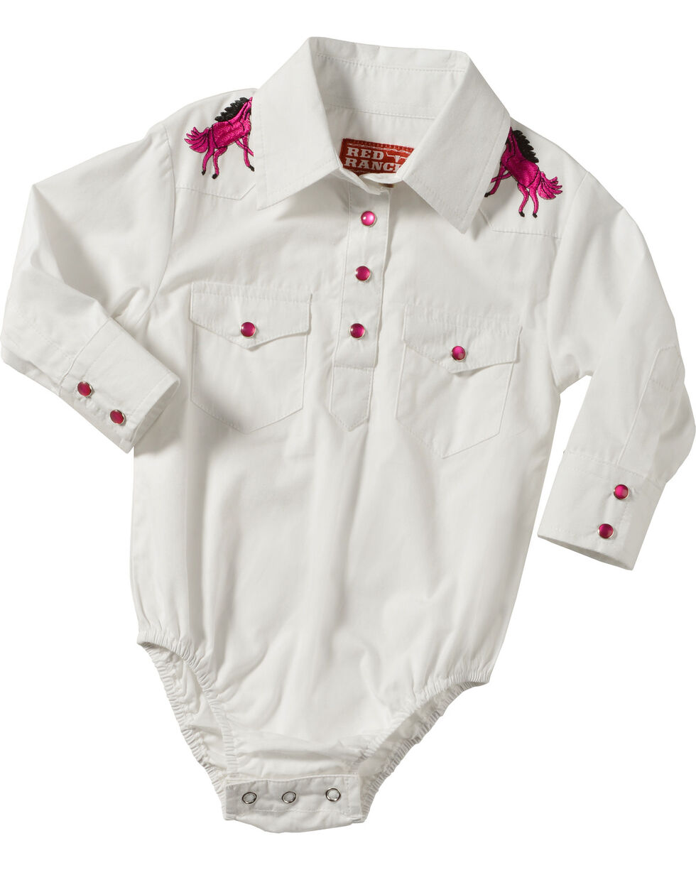 Red Ranch Infant Girls' Horse Embroidered Pearl Snap Onesie, White, hi-res