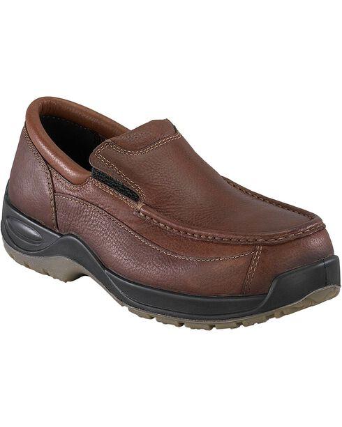 Florsheim Men's Ace Composite Toe Slip-On Shoes, Brown, hi-res