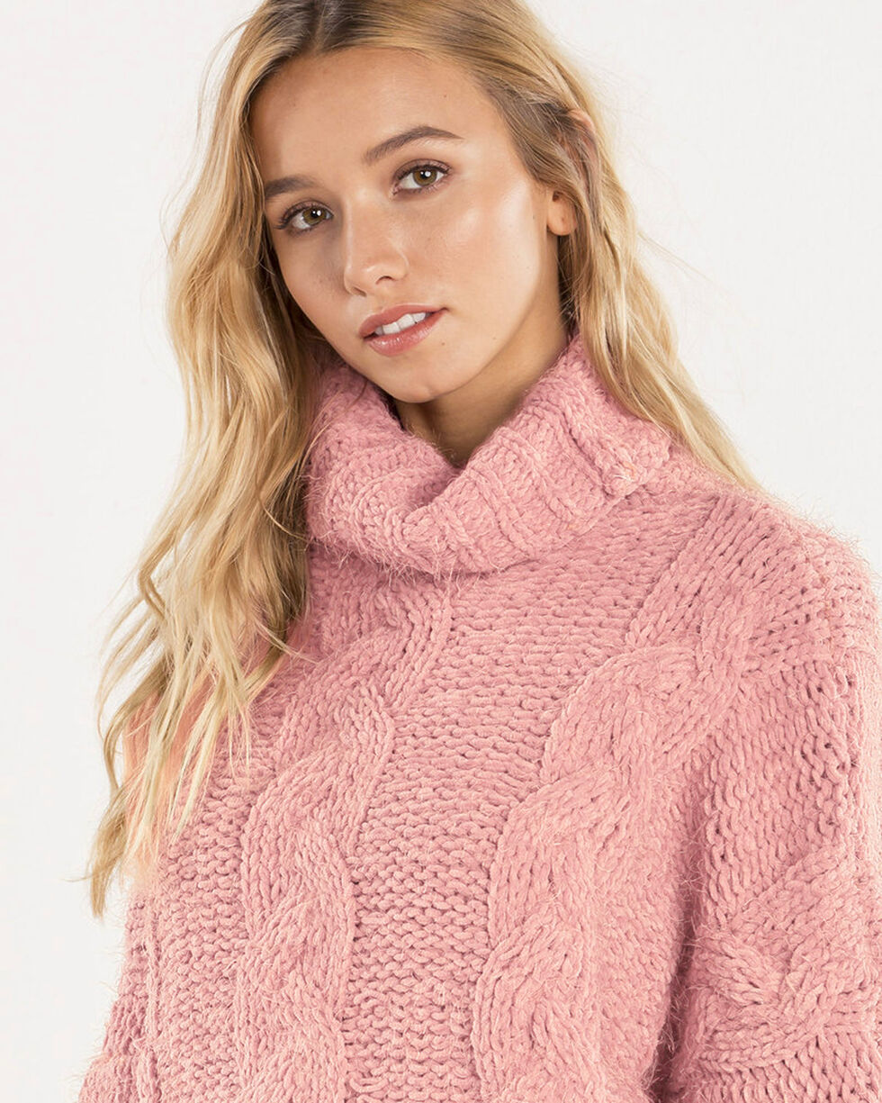 Miss Me Women's Light Pink Cropped Turtle Neck Sweater , , hi-res