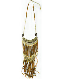 Sincerely Mary Women's Sahara Brown Leather Fringe Necklace, , hi-res