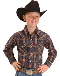 Wrangler Boy's Assorted Western Plaid Shirt, , hi-res