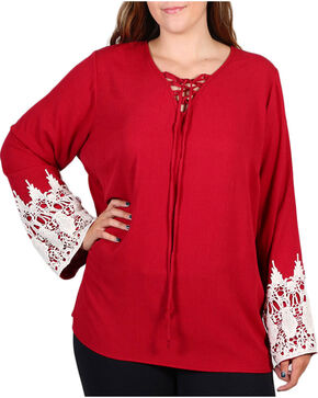 Forgotten Grace Women's Plus Size Crochet Trim Long Sleeve Top, Burgundy, hi-res