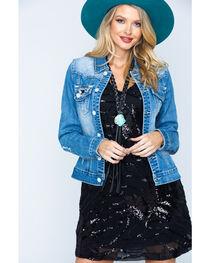 Rock & Roll Cowgirl Women's Light Wash Sequin Pocket Denim Jacket , , hi-res
