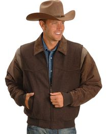 Circle S Men's Leather and Wool Winter Coat, Chocolate, hi-res