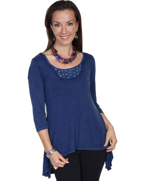 Scully Women's High-Low Crochet Blouse, Blue, hi-res