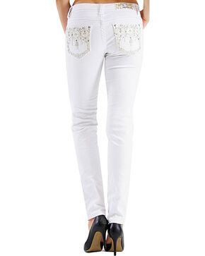Grace in LA Women's Embroidered Diamond Skinny Jeans, White, hi-res