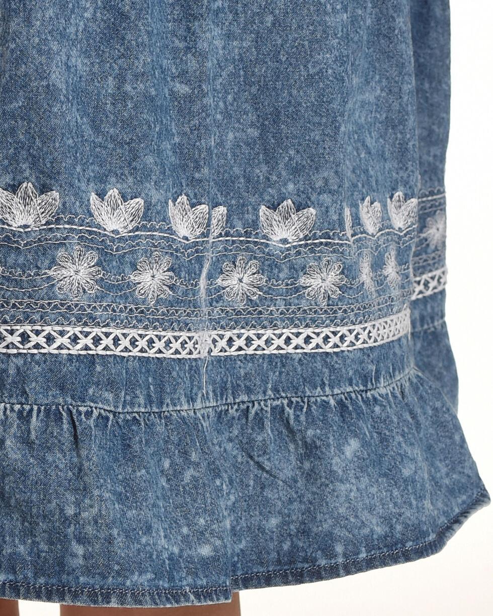 Silver Girls' Sleeveless Tiered Denim Dress, Indigo, hi-res