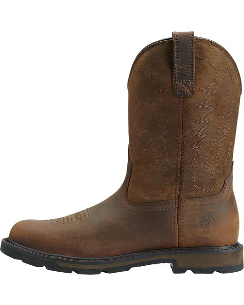Ariat Groundbreaker Pull-On Work Boots - Round Toe, Brown, hi-res