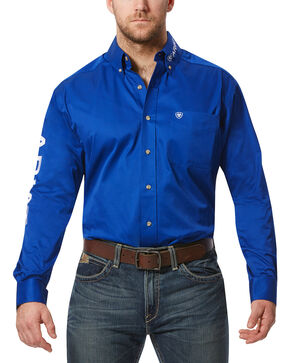 Ariat Men's Team Logo Long Sleeve Twill Shirt, Blue, hi-res