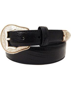 Dan Post Men's Tapered Lizard Print Leather Belt, Black, hi-res