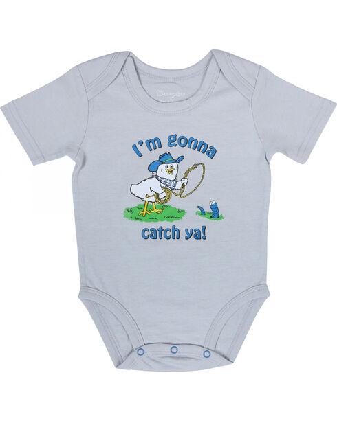"""Wrangler Infant Boys' Short Sleeve """"Gonna Catch Ya"""" Onesie, Khaki, hi-res"""
